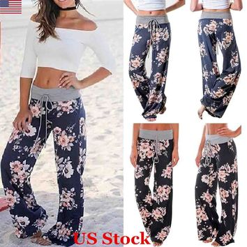 US Fashion Womens Elastic Waisted Floral Printed Palazzo Long Pants Wide Legs