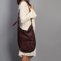 Oversized 70s LEATHER Sling BAG / Slouchy OXBLOOD Boho Festival Purse