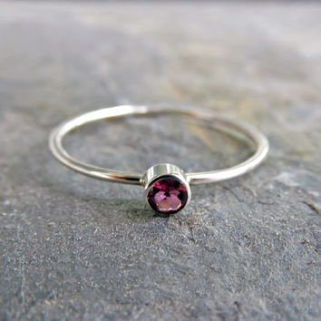 3mm Tiny Pink Tourmaline Stacking Ring in 14k Yellow Gold or White Gold, Hammered, Matte, or High Polish - October Birthstone Mother's Ring