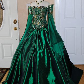 Miranda Medieval Corset Gown Silk and Chiffon Custom