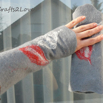 Wool arm warmer fingerless mittens, felted wool wrist warmer fingerless gloves. Woodland. Pixie felt. Grey, red, white leaf arm warmers.
