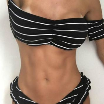 Striped Off The Shoulder Bikini