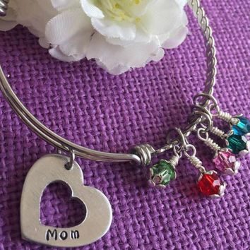 Mom Bracelet - Mother's Day Gift - Expandable Charm Bracelet - Heart Bracelet - Personalized Jewelry - Custom Bracelet - Gift for Mom