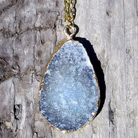 22K Gold Plated Druzy Geode Teardrop Necklace