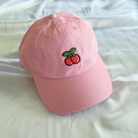 Embroidered Cherry Baseball Cap / Hat