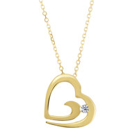 14K Yellow Gold Open Diamond Heart Necklace - 18 Inches