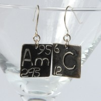 Chemical element initial silver earrings
