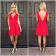 Deep V Tea & Crumpets Dress - RED