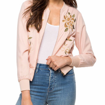 Pia Pink Floral Embroidered Bomber Jacket