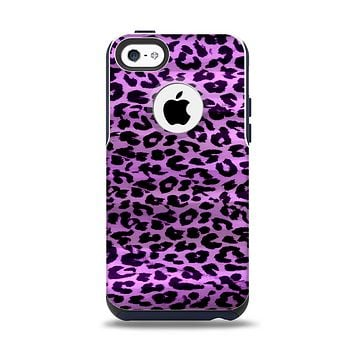 The Vivid Purple Leopard Print Apple iPhone 5c Otterbox Commuter Case Skin Set
