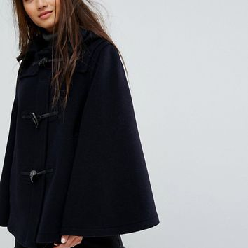 Gloverall Wool Blend Duffle Cape with Detachable Hood at asos.com