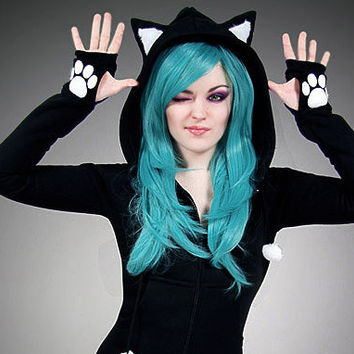 Black cat hoodie long ears animal kitty