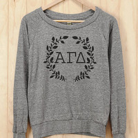 Alpha Gamma Delta Wreath Athletic Heather American Apparel Pullover