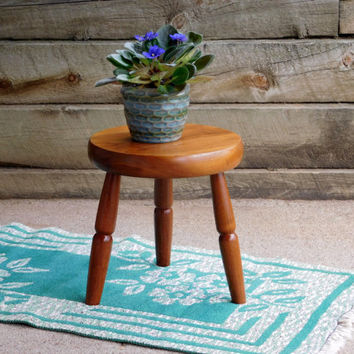 Small Wooden Stool ~ Plant Stand