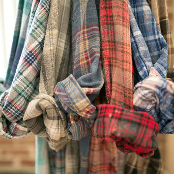 Vintage Mystery Flannel Shirt Unisex Grunge Faded