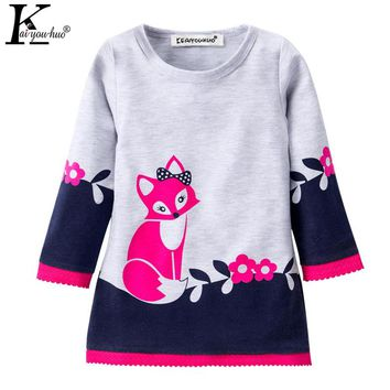 Christmas Girls Dress 2017 Winter Vestido Infant Long Sleeve Kids Clothes Cotton Fox Dresses For Girls Costume Children Clothing