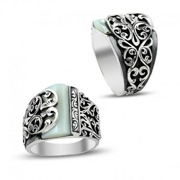 Filigree unique mother of pearl gemstone 925k sterling silver mens ring