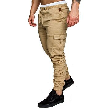 HEFLASHOR 2018 New Men Pants Hip Hop Harem Joggers Fashion Basic Solid Elastic Waist Trousers Casual Pockets Mens Sweatpants