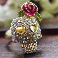 $4.99  Vintage Adjustable RoseRhinestone Skull Cocktail Ring at Online Jewelry Store Gofavor