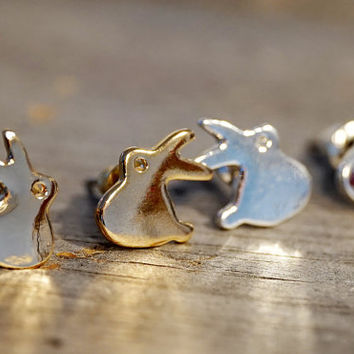 Gold & Silver plated tiny dainty bunny rabbit stud earrings (EA00043)