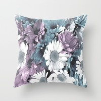 Pink And Turquoise Floral Throw Pillow by J&C Creations