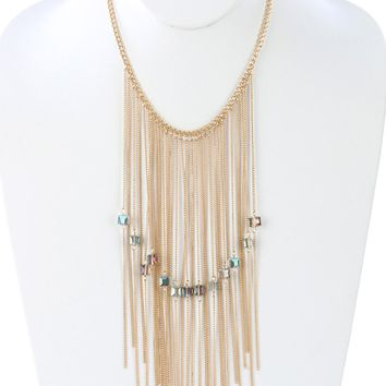 Mulit Color Long Chain Fringe Bib Iridescent Glass Bead Charm Necklace