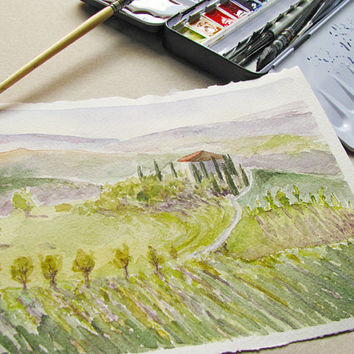 Tuscan landscape fine art print, travel watercolor, Italy journey painting