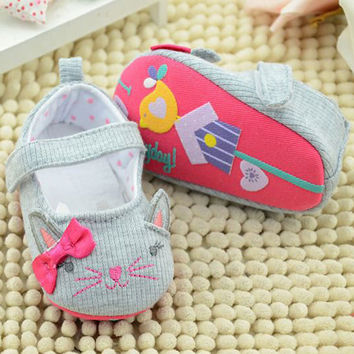 Infant Toddler Baby Shoes Newborn Spring Autumn Cute Cat Pattern Kids Shoes Infants Soft Sole Shoes