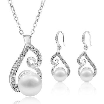 CREYV2S Morenitor Jewelry Set Gold Plated Faux Pearl Pendant Necklace Dangle Earring Stud Set Gifts for Women