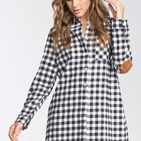 Black and White Plaid Tunic with Elbow Patches