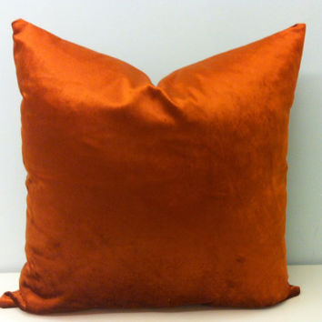 Copper Velvet Pillow Cover, Orange Velvet Decorative Pillow, Rusty Orange Velvet Cushion Cover, Rustic Copper Velvet Throw Pillows Covers