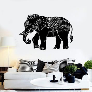 Vinyl Wall Decal Indian Elephant Ornament Animal Stickers Mural Unique Gift (ig3862)