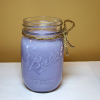 Mason Jar Candles: Hyacinth Candle, Soy Purple Candle, Floral Scented