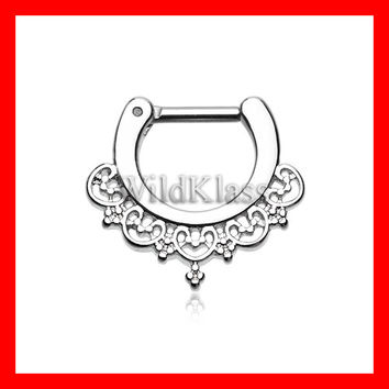 16g Septum Clicker 14g Celestial Filigree Septum Ring Jewelry Earring Cartilage Piercing Tragus Ring Helix Conch Nose Belly Nipple