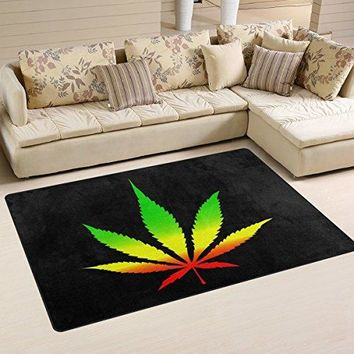 WOZO Marijuana Leaf Black Area Rug Rugs Non-Slip Floor Mat Doormats for Living Room Bedroom 31 x 20 inches