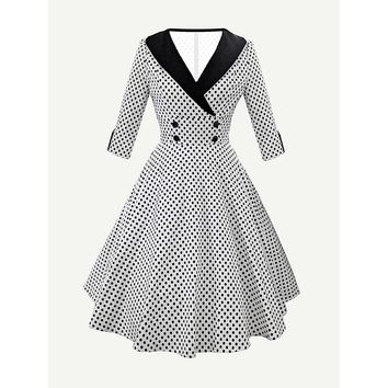Contrast Collar Polka Dot Circle Dress