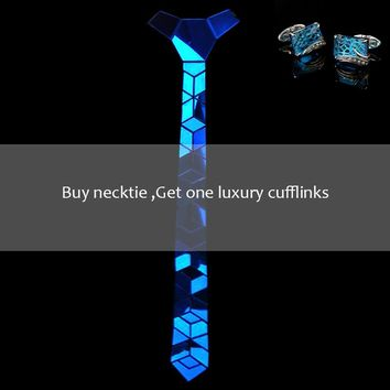 Fashionable Wedding Accessories Cutting-edge Shinny Blue Mirror Little Diamond Shape Necktie Bow Ties