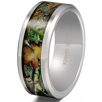 8mm Tungsten Carbide Leaf Green Pattern Camouflage Engagement Wedding Ring Hunting Camo Band