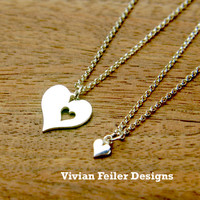 Mother Daughter Necklace Heart Jewelry 2 Necklaces Sterling Silv - Vivian Feiler Designs | Wedding