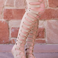 Tatiana Thigh High Gladiator Sandals - Taupe