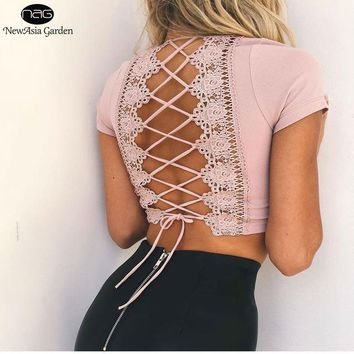 Plunge V Neck Back Lace Up Women Crop Top Lace Insert Backless Top