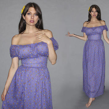 Vintage 70s OFF THE SHOULDER Maxi Dress / Calico Floral Print, Muted Purple / Corset Banded Waist / Summer Sundress / Groovy Love Witch /S