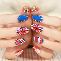 Red Rhinestone and Stud British Flag Print Nail Art
