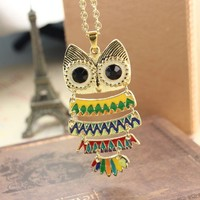 Beautiful Colorful Owl Long Necklace