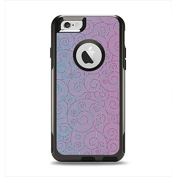 The OverLock Pink to Blue Swirls Apple iPhone 6 Otterbox Commuter Case Skin Set