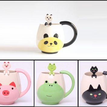 Hand-painted Ceramic Coffee Mug Cup with Tea Spoon (Panda, Frog, Cat, Pig)
