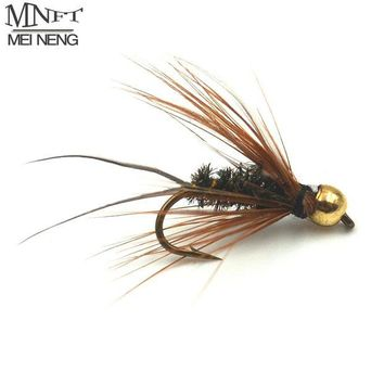 ONETOW MNFT 10PCS 10# Brass Golden head Trout Grayling Fishing Flies Wet Fly Bead Head Prince Nymph