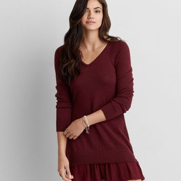 AEO RUFFLE HEM SWEATER DRESS