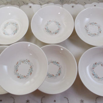 "Fortune Blue Wreath China Bowls 5 3/8"", Vintage Homer Laughlin, Made in USA China, 7 Bowls for Fruits,  Desserts, Sauces, Finger Bowls"