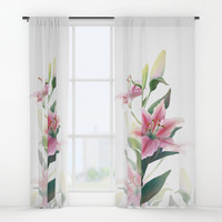 Lilium Window Curtains by printapix